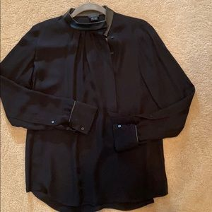 Theory Blouse with leather trim